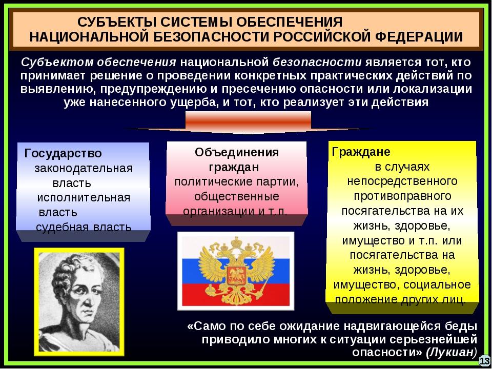 СУБЪЕКТЫ СИСТЕМЫ ОБЕСПЕЧЕНИЯ НАЦИОНАЛЬНОЙ БЕЗОПАСНОСТИ РОССИЙСКОЙ ФЕДЕРАЦИИ 1...