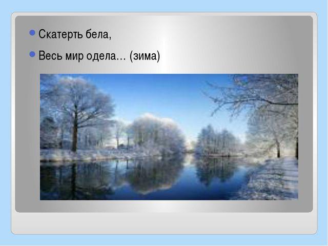 Скатерть бела, Весь мир одела… (зима)