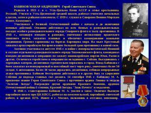 БАБИКОВ МАКАР АНДРЕЕВИЧ- Герой Советского Сою