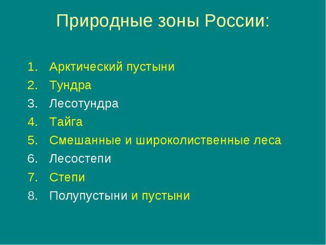 Природные зоны России: Арктический пустыни Тундра Лесотундра Тайга Смешанные...