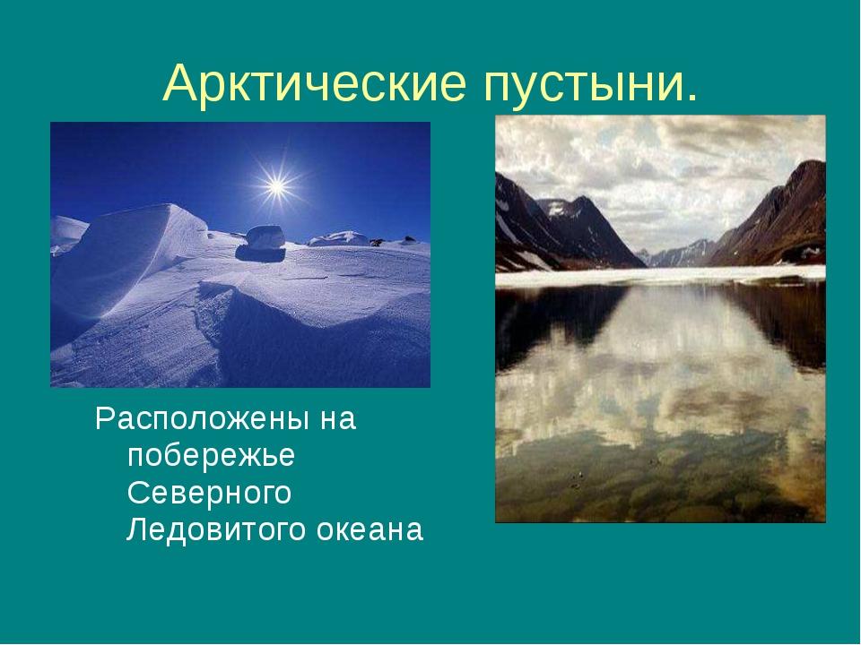 Арктические пустыни. Расположены на побережье Северного Ледовитого океана