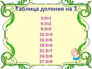 Таблица деления на 3 3:3=1 6:3=2 9:3=3 12:3=4 15:3=5 18:3=6 21:3=7 24:3=8 27: