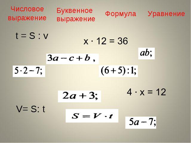 Числовое выражение Буквенное выражение Формула Уравнение V= S: t t = S : v