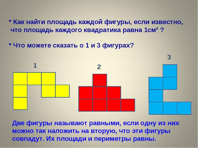 * Что можете сказать о 1 и 3 фигурах? 1 3 2 * Как найти площадь каждой фигуры...