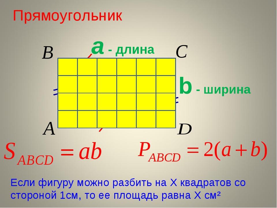 Прямоугольник а - длина b - ширина Если фигуру можно разбить на Х квадратов с...