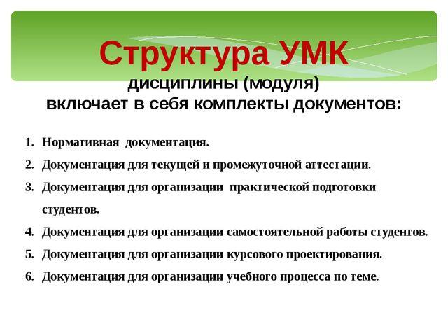 Структура УМК дисциплины (модуля) включает в себя комплекты документов: Норма...