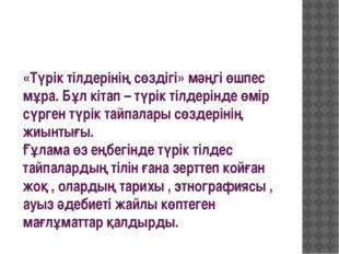 «Түрік тілдерінің сөздігі» мәңгі өшпес мұра. Бұл кітап – түрік тілдерінде өмі