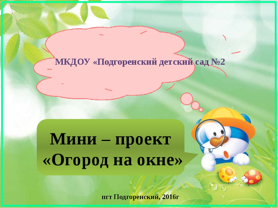 Мини – проект «Огород на окне» МКДОУ «Подгоренский детский сад №2 пгт Подгоре...