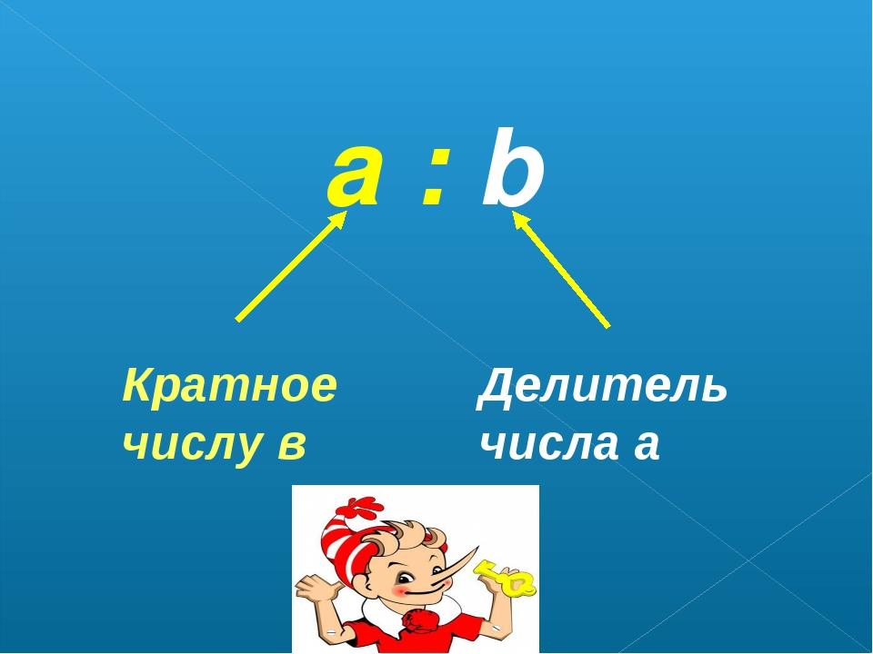 а : b Кратное числу в Делитель числа а