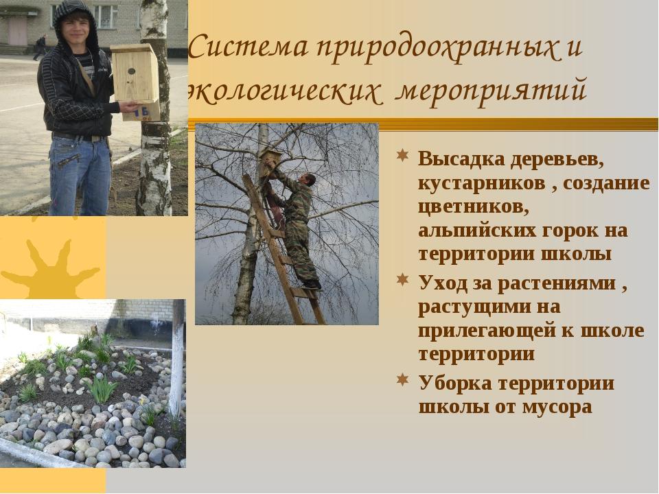 Система природоохранных и экологических мероприятий Высадка деревьев, кустарн...