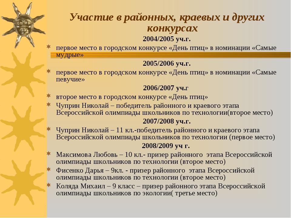 Участие в районных, краевых и других конкурсах 2004/2005 уч.г. первое место...