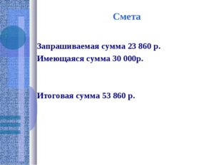 Смета Запрашиваемая сумма 23 860 р. Имеющаяся сумма 30 000р. Итоговая сумма 5