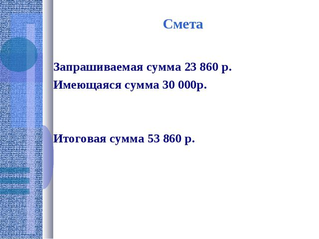 Смета Запрашиваемая сумма 23 860 р. Имеющаяся сумма 30 000р. Итоговая сумма 5...