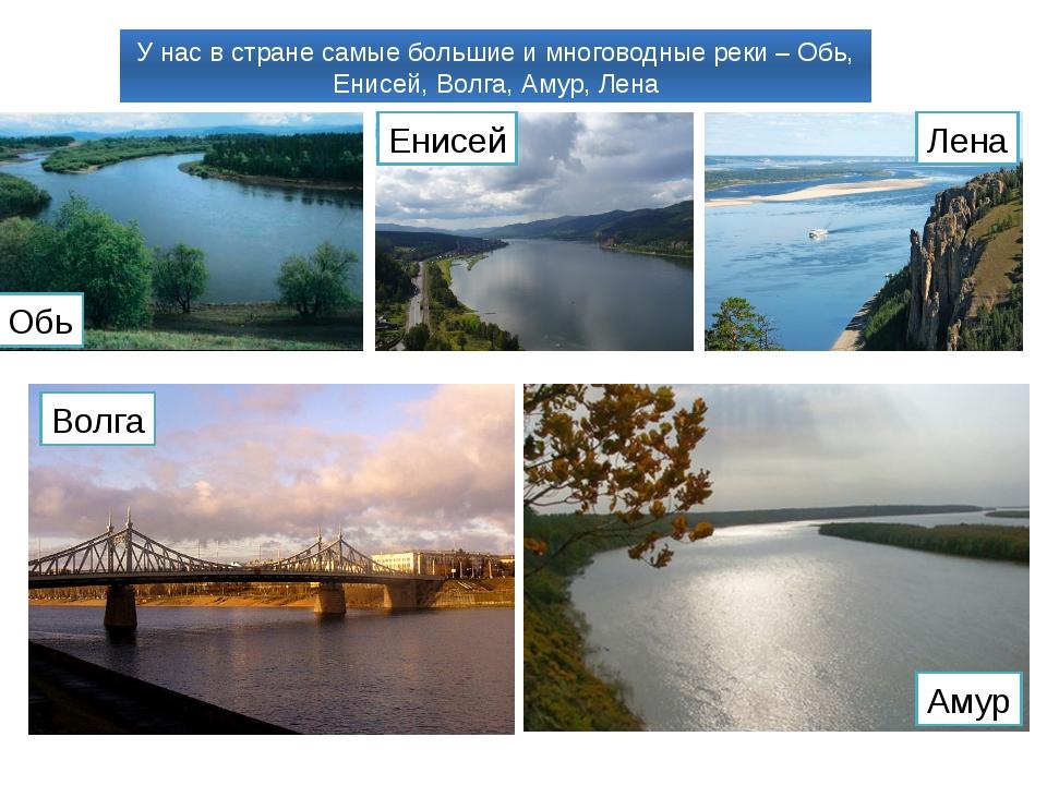 У нас в стране самые большие и многоводные реки – Обь, Енисей, Волга, Амур, Л...