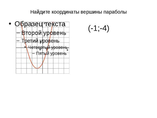 Найдите координаты вершины параболы (-1;-4)