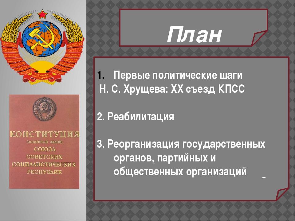 План Первые политические шаги Н. С. Хрущева: XX съезд КПСС 2. Реабилитация 3...