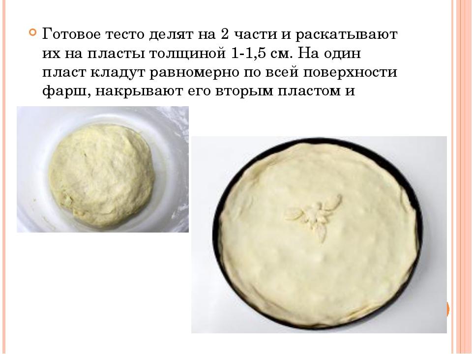 Готовое тесто делят на 2 части и раскатывают их на пласты толщиной 1-1,5 см....