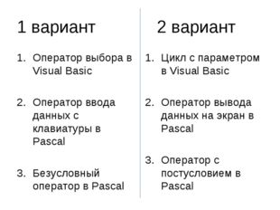 1 вариант			2 вариант Оператор выбора в Visual Basic Оператор ввода данных с