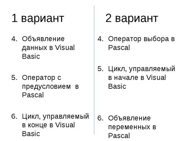 1 вариант2 вариант Объявление данных в Visual Basic Оператор с предусловие...