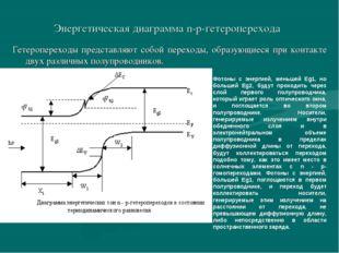 Энергетическая диаграмма n-p-гетероперехода Гетеропереходы представляют собой