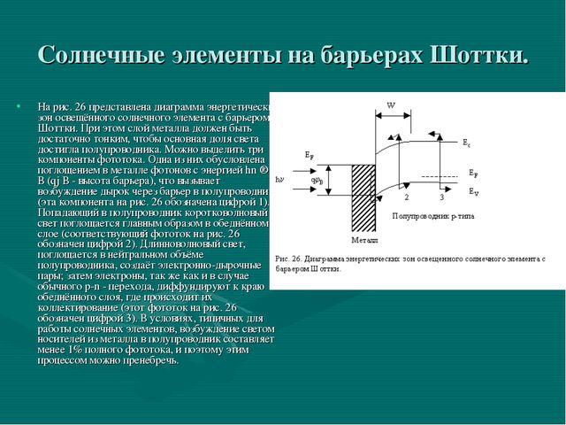Солнечные элементы на барьерах Шоттки. На рис. 26 представлена диаграмма энер...
