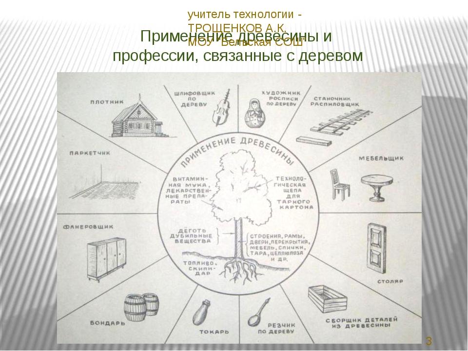 Применение древесины и профессии, связанные с деревом 23.11.2013 учитель техн...