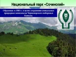 Национальный парк «Сочинский» Образован в 1983 г. в целях сохранения уникаль