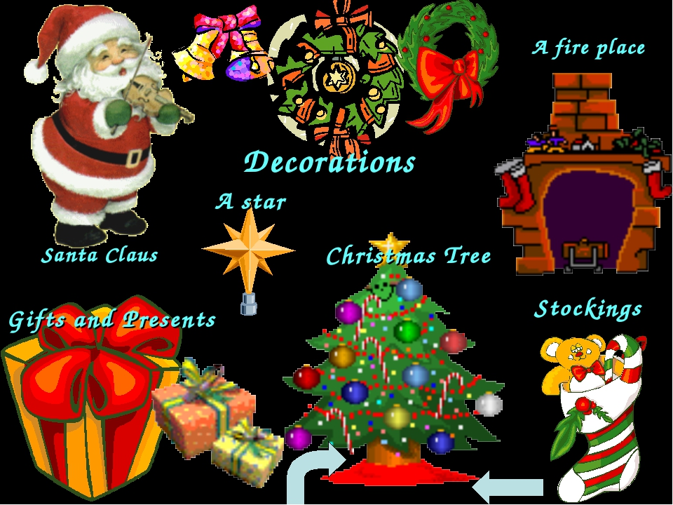 Santa Claus Decorations Gifts and Presents A star Christmas Tree A fire place...