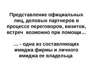 Представление официальных лиц, деловых партнеров в процессе переговоров, визи