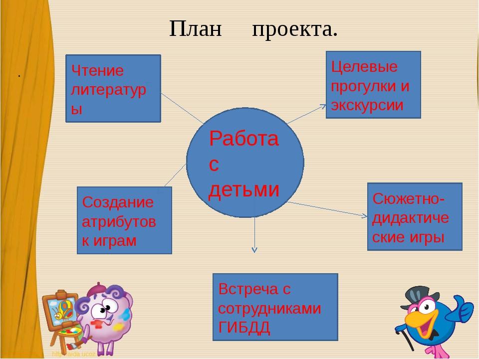 План проекта. . Чтение литературы Работа с детьми Создание атрибутов к играм...