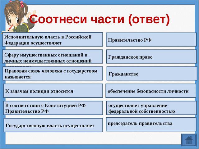 Соотнеси части (ответ) Исполнительную власть в Российской Федерации осуществл...