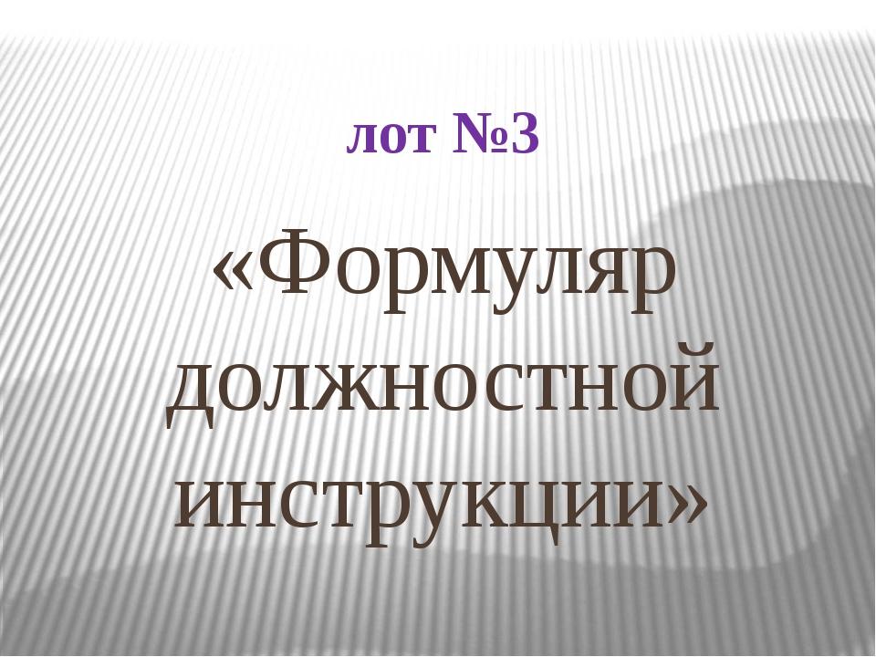 лот №3 «Формуляр должностной инструкции»