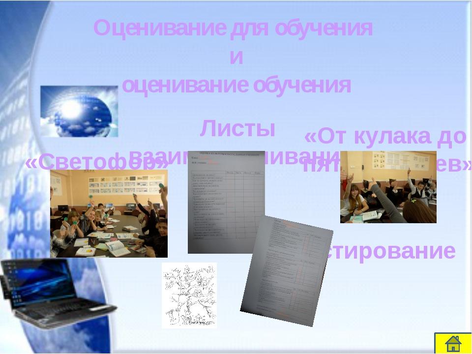 Оценивание для обучения и оценивание обучения «Светофор» «От кулака до пяти...