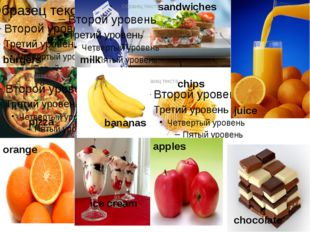 burgers chips sandwiches pizza milk juice orange bananas ice cream chocolate