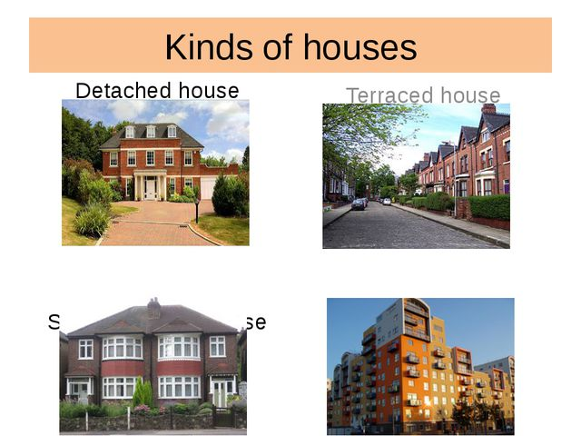 Kinds of houses Detached house Semi-detached house Terraced house Block of fl...
