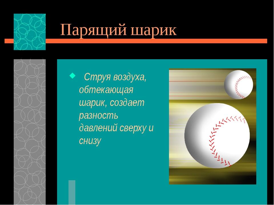 Парящий шарик Струя воздуха, обтекающая шарик, создает разность давлений свер...