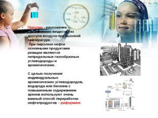 Пиролиз - разложение органических веществ без доступа воздуха при высокой тем