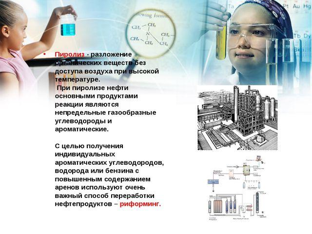 Пиролиз - разложение органических веществ без доступа воздуха при высокой тем...