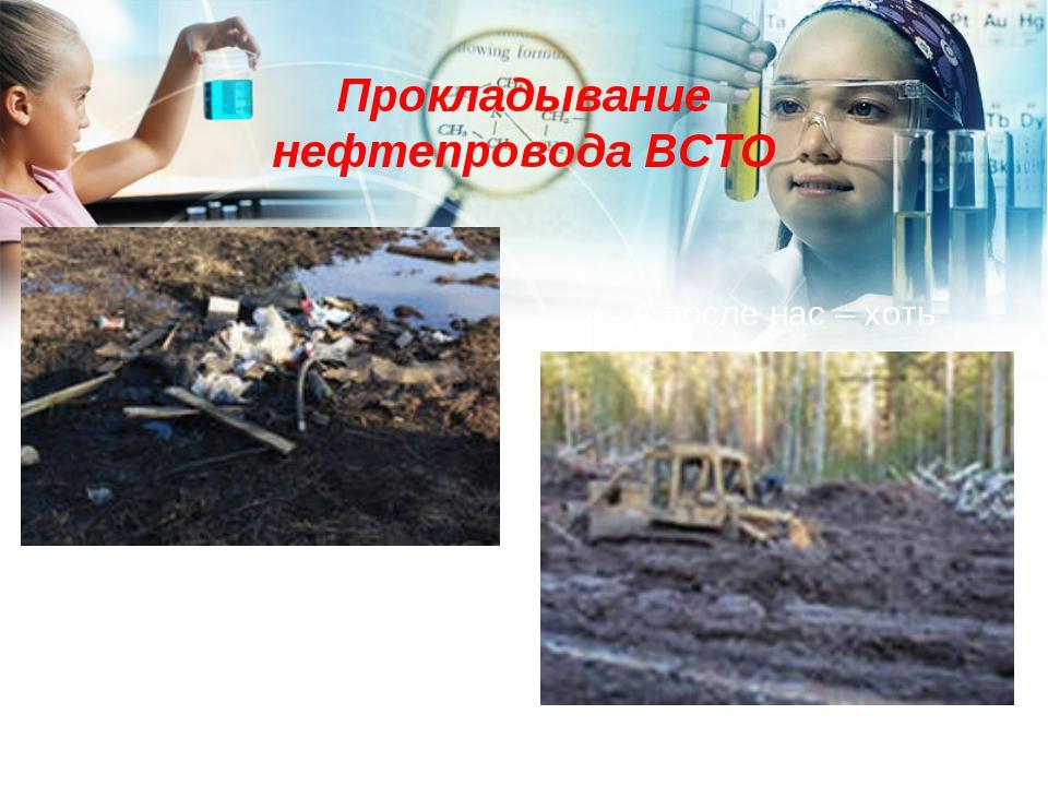 Прокладывание нефтепровода ВСТО А после нас – хоть трава не расти…