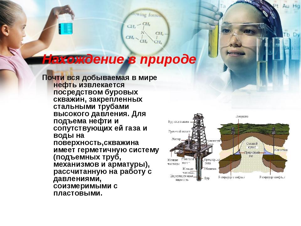 Нахождение в природе Почти вся добываемая в мире нефть извлекается посредство...