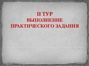 II ТУР ВЫПОЛНЕНИЕ ПРАКТИЧЕСКОГО ЗАДАНИЯ Адамчукова Т.К., мастер производствен