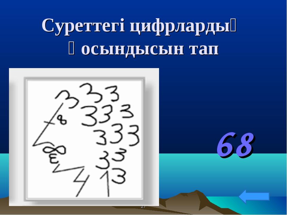 Суреттегі цифрлардың қосындысын тап 68 *