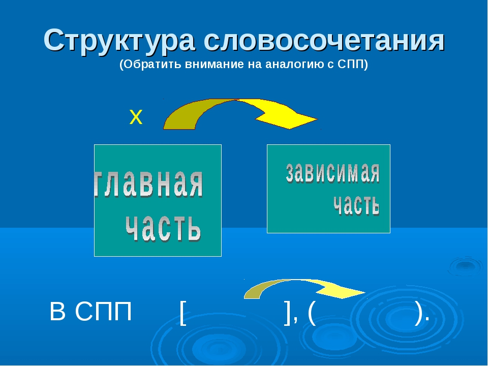 Структура словосочетания (Обратить внимание на аналогию с СПП) х В СПП [ ], (...