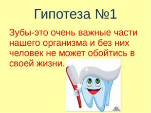 Гипотеза №1 Зубы-это очень важные части нашего организма и без них человек не