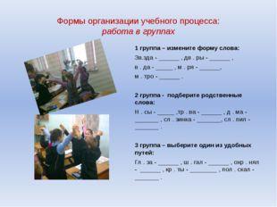 Формы организации учебного процесса: работа в группах 1 группа – измените фор