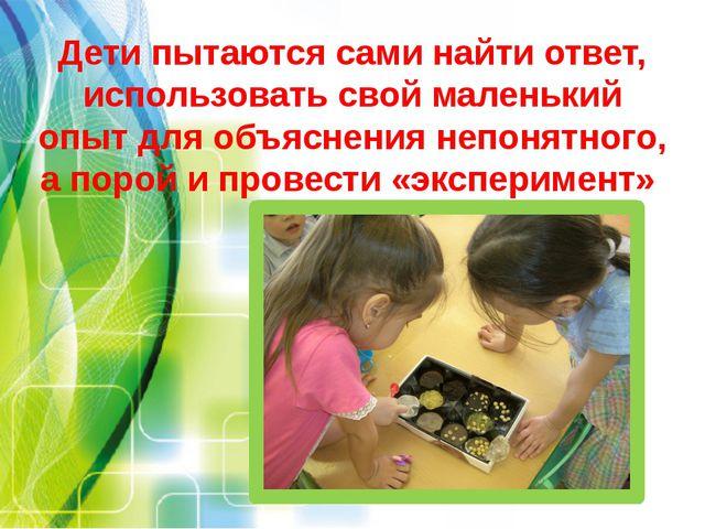 Дети пытаются сами найти ответ, использовать свой маленький опыт для объяснен...