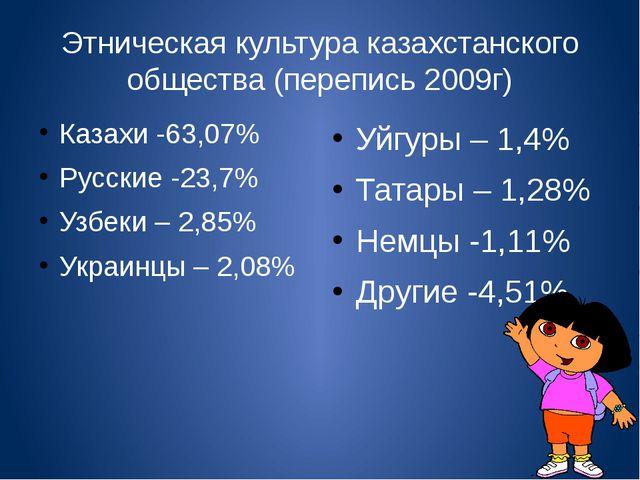 Этническая культура казахстанского общества (перепись 2009г) Казахи -63,07% Р...