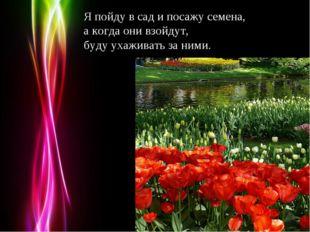 Я пойду в сад и посажу семена, а когда они взойдут, буду ухаживать за ними. P