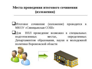* Итоговое сочинение (изложение) проводится в МКОУ «Синицынская СОШ» Для ВПЛ