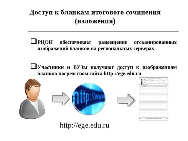 * РЦОИ обеспечивает размещение отсканированных изображений бланков на региона...